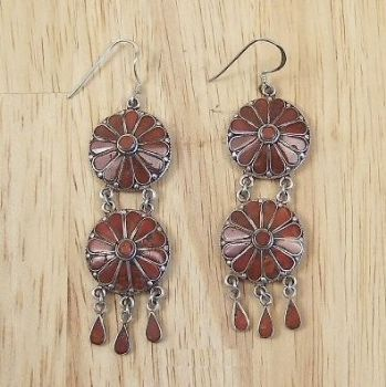 Traditional Indian Double Round  Coral Danglies